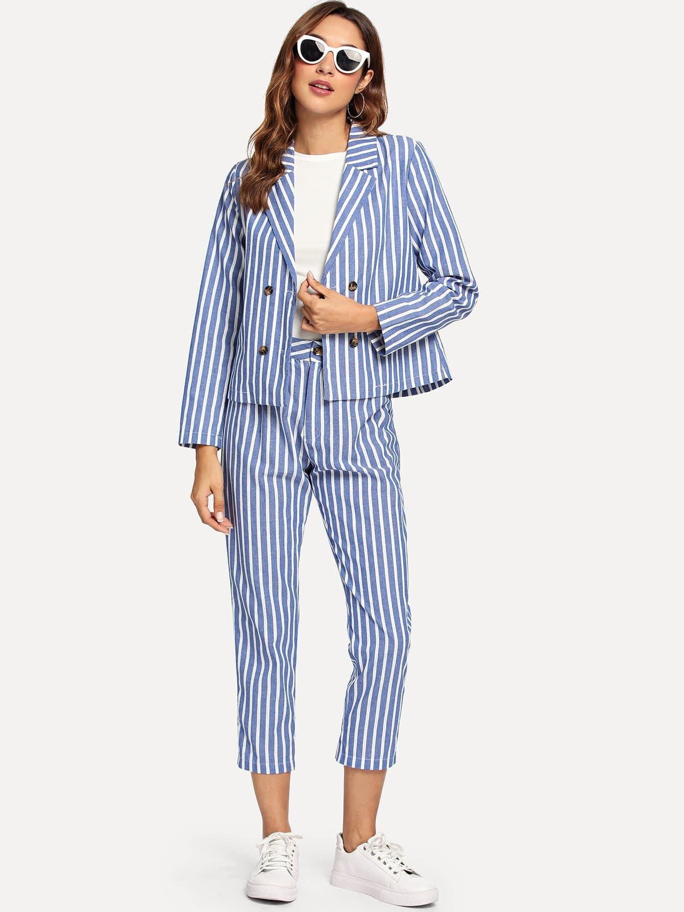 Двубортный полосатый пиджак и брюки, Gabi B, SheIn  - купить со скидкой