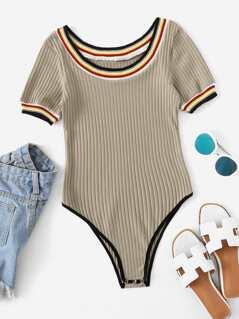 Ribbed Knit Skinny Bodysuit