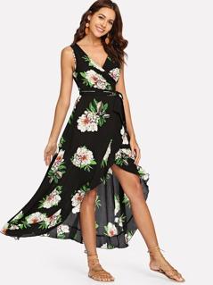 Surplice Neck Floral Ruffle Hem Shell Dress
