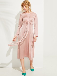 Cross Wrap Front Satin Dress