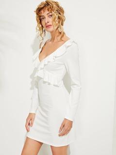 Ruffle Detail Solid Tunic Dress