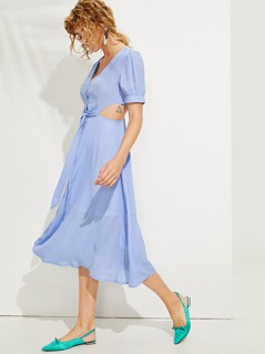 Button Front Knot V-Neck Dress