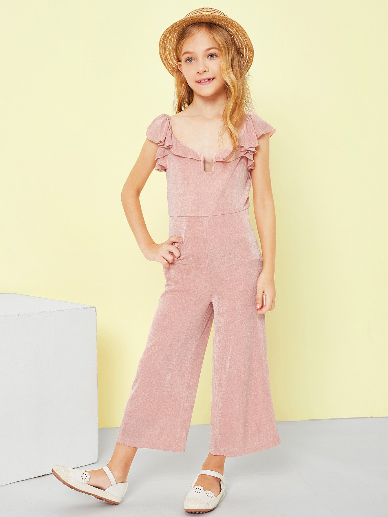 Girls V-Neck Solid Ruffle Trim Jumpsuit choker neck embroidered ruffle trim jumpsuit