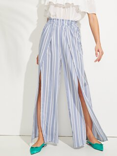 Flare Waist Elastic Striped Pants