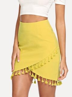 Wrap Tassel Detail Bodycon Skirt