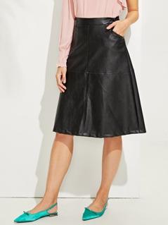 Slant Pocket Solid Skirt
