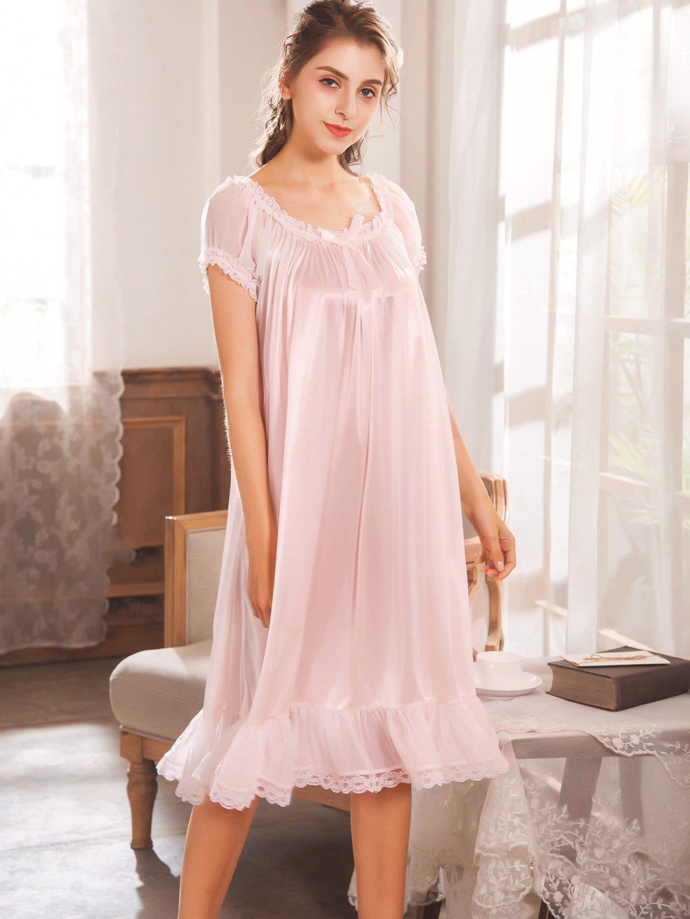 Купить Ситцевая кружевная ночная сорочка и подол с розеткой, null, SheIn