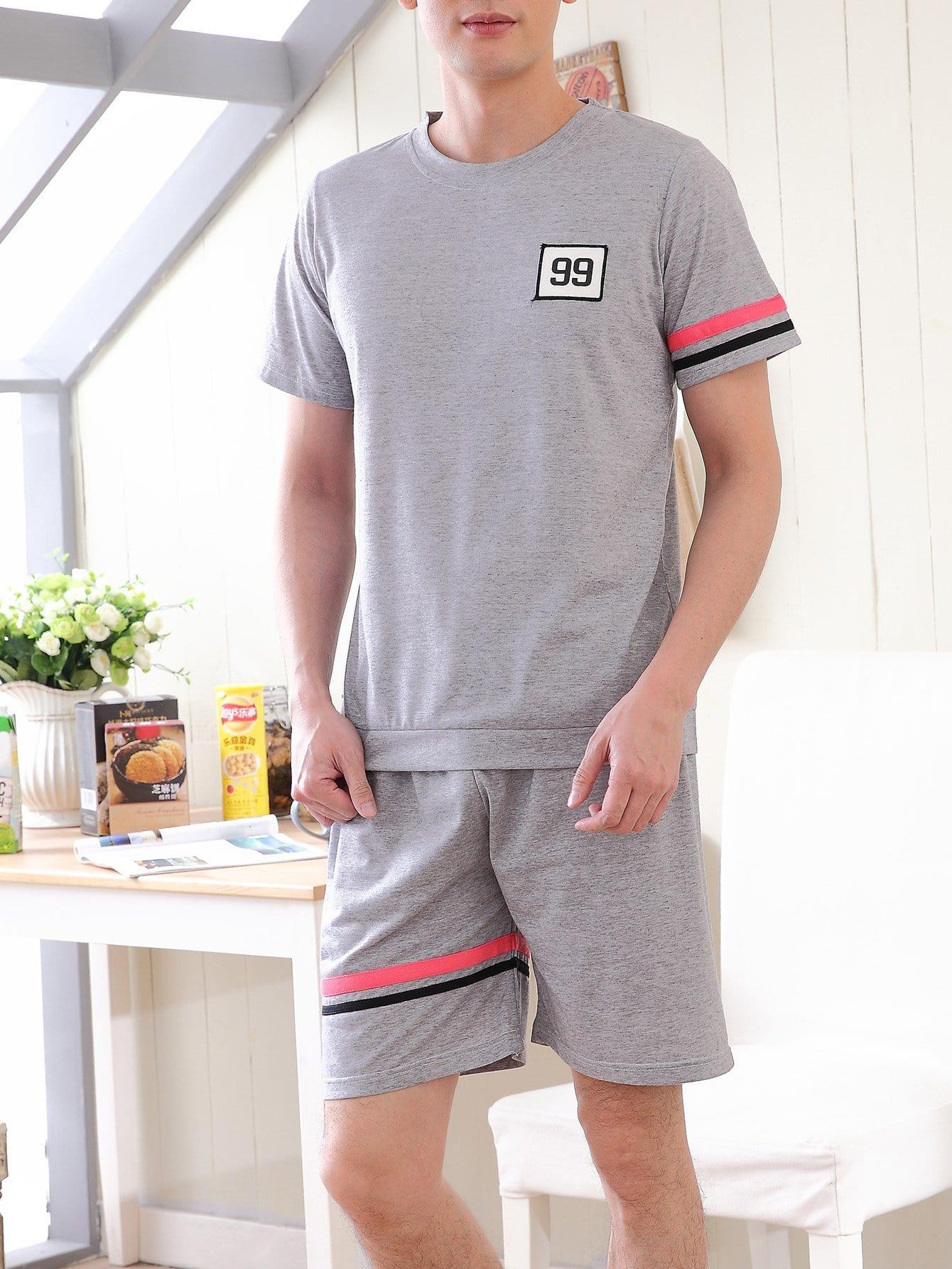 Men Number Patched Contrast Stripe Pajama Set
