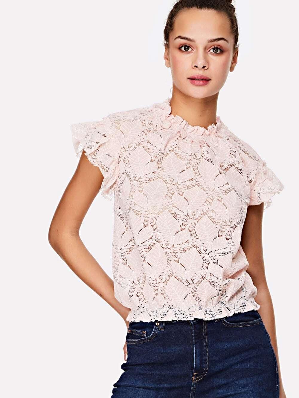 Купить Кокетливый стиль Одноцветный Кайма Розовый Блузы+рубашки, Ruby Muldoon, SheIn