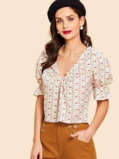 Flamingos Print Ruffle Sleeve Blouse