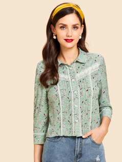 Button Front Floral Print Lace Trim Blouse