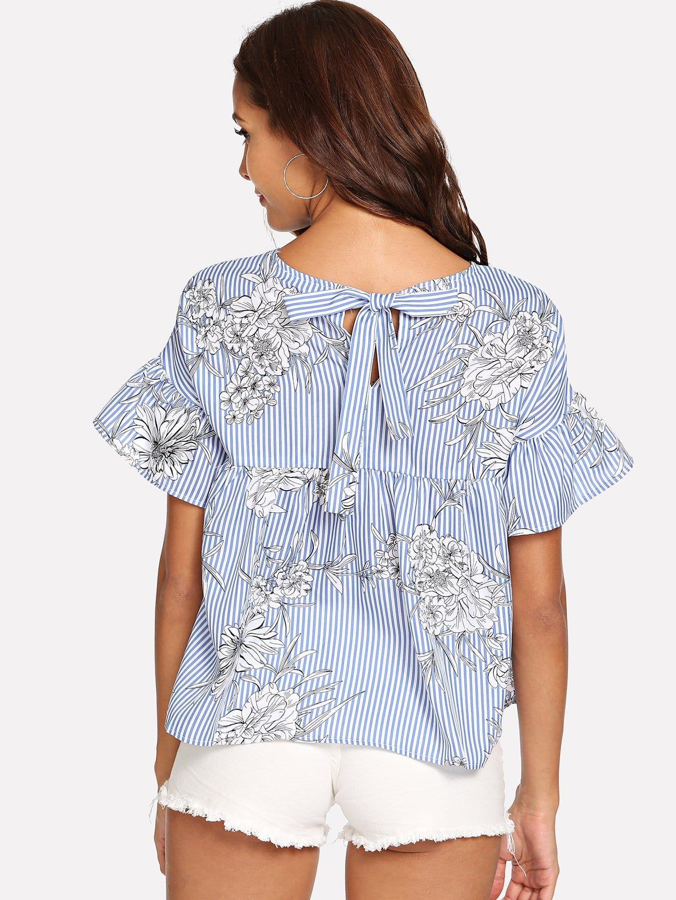 Купить Ruffle Sleeve Floral & Stripe Top, Giulia, SheIn