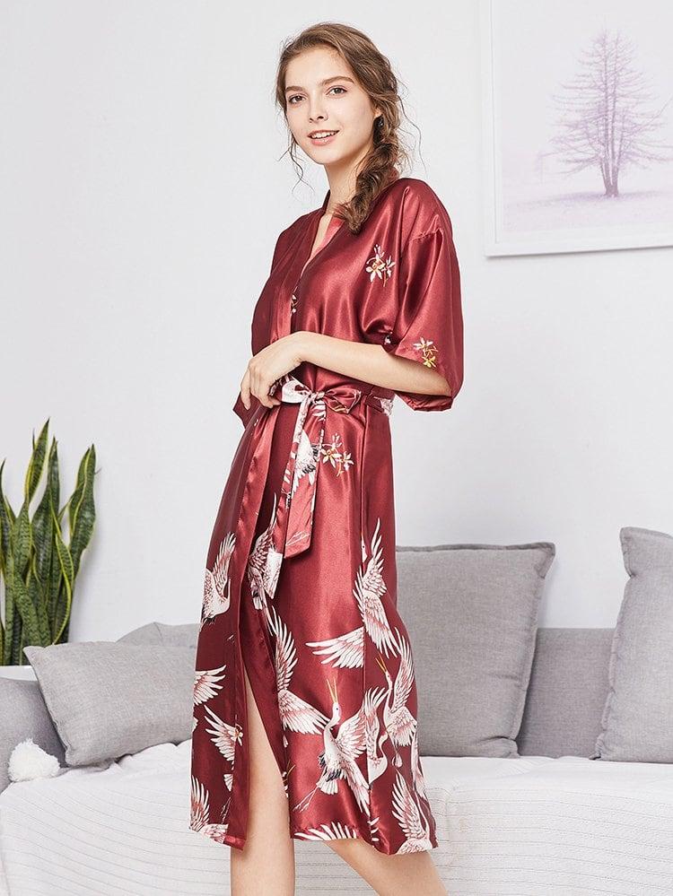 Домашний халат и с поясом и с рисунком крана, null, SheIn  - купить со скидкой