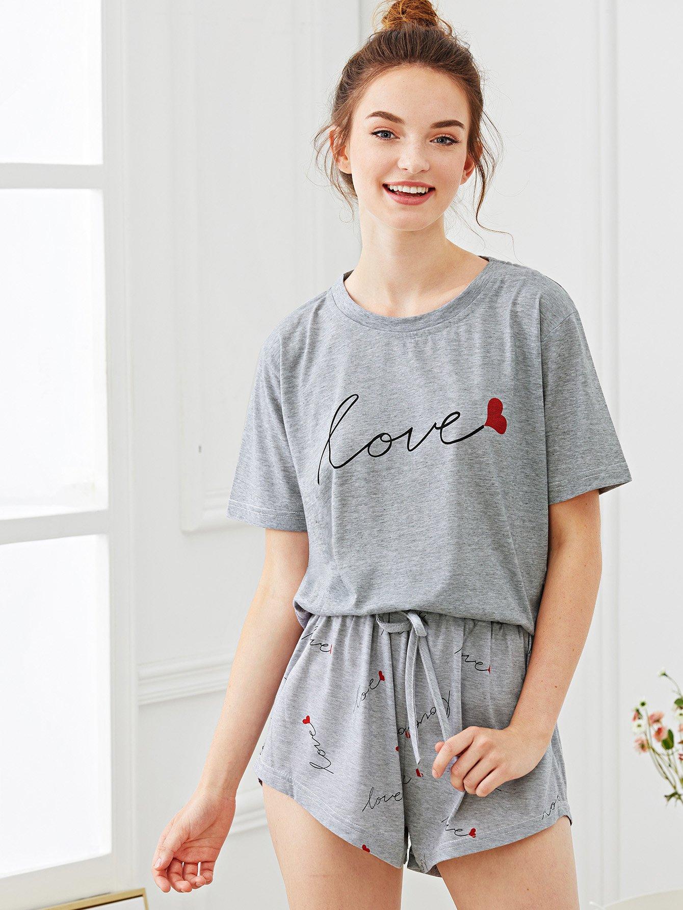 Купить Комплект пижамы и с рисунками сердей и буквы, Tory, SheIn