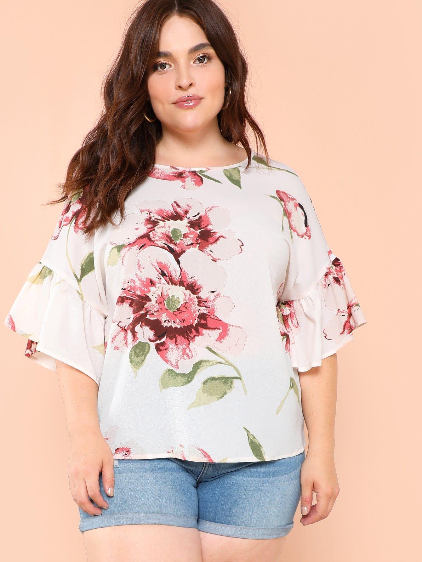 Купить Ruffle Sleeve Floral Вверх, Brianna Marquez, SheIn