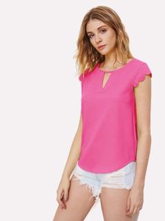 Neon Pink V Notch Front Scallop Trim Curved Hem Top