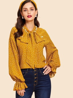 Tie Neck Polka Dot Print Blouse