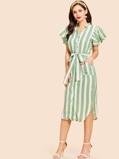 Pocket Patched Button Up Striped Belted Dress