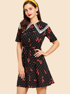 Lace Collar Cherry and Dot Print Dress