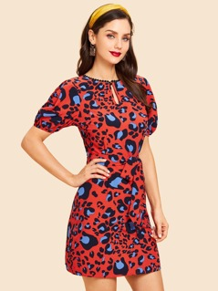 Keyhole Front Leopard Print Dress