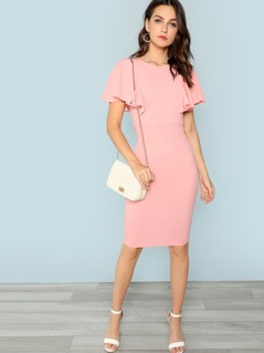 Mock Neck Flutter Sleeve Dress