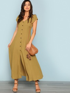 Button Up Fit & Flare Dress