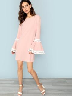 Tassel Trim Bell Sleeve Dress