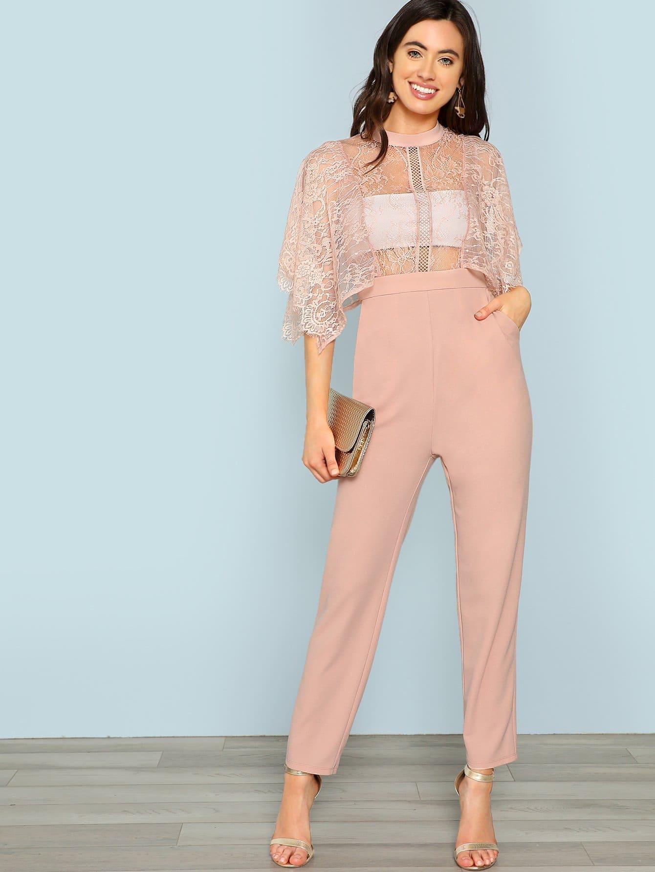 Floral Lace Bodice Tailored Jumpsuit plaid tailored jumpsuit