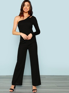 One Shoulder Cutout Jumpsuit