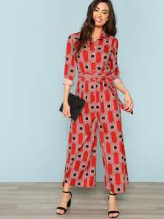 Geo Print Button Half Placket Self Belted Jumpsuit