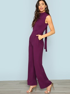 Mock Neck Tie Open Back Flare Leg Jumpsuit