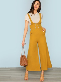 Double Breasted Detail Wide Leg Jumpsuit
