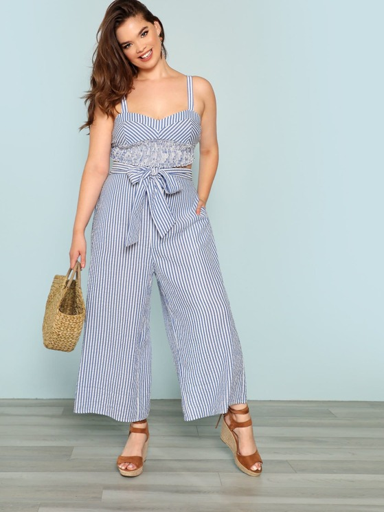 03f106001a0 Plus Shirred Crop Top and Belted Palazzo Pants Set