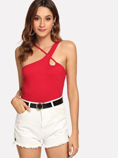 Strappy One Shoulder Tank Top