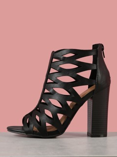 Caged Cutout Peep Toe Heeled Sandals