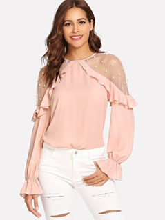 Mesh with Pearl Detail Ruffle Trim Top