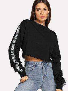 Letter Print Sleeve Crop Sweatshirt