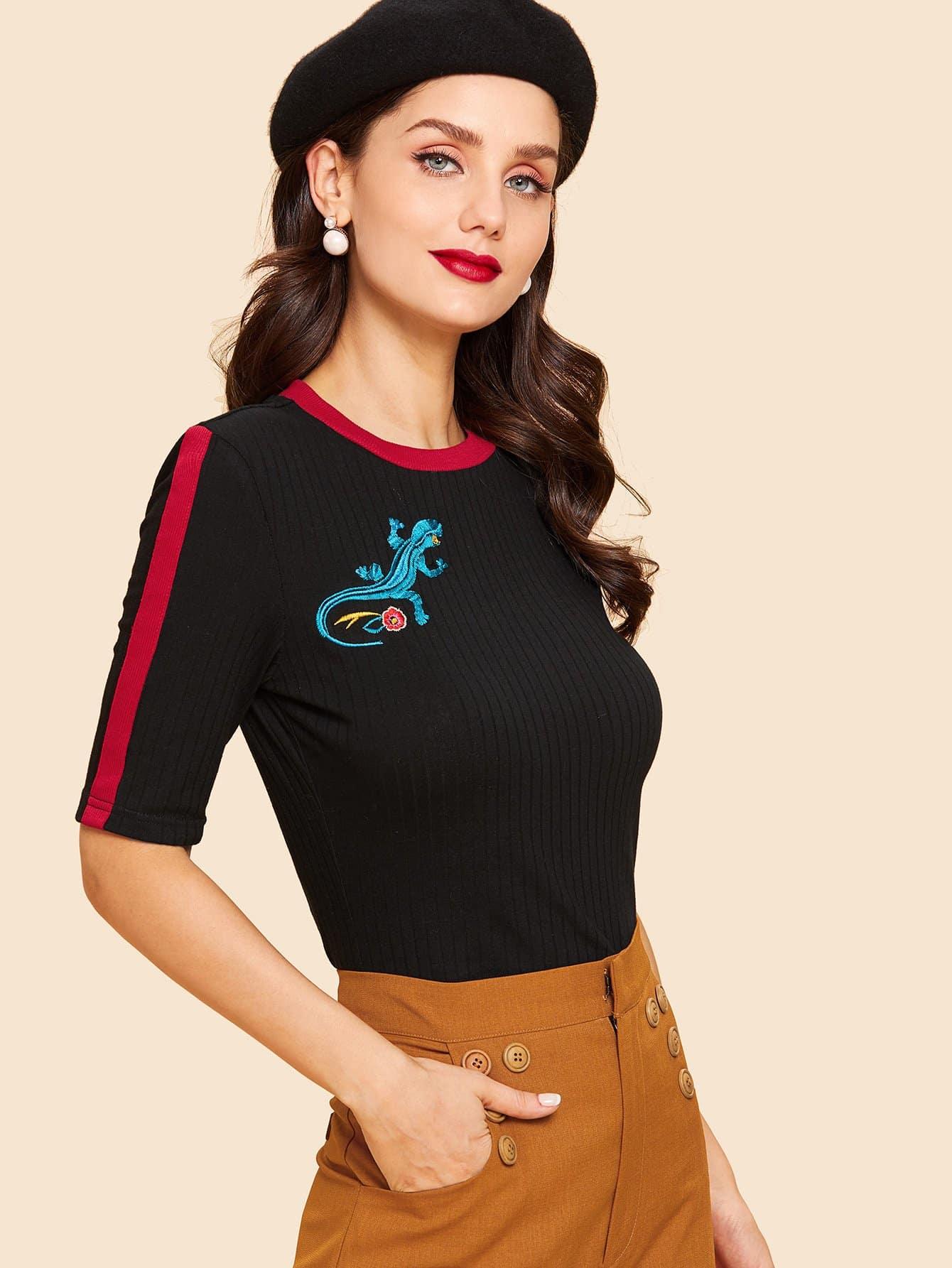 Купить Годичная футболка вышивки и с лентами по обе стороны, Julie H., SheIn