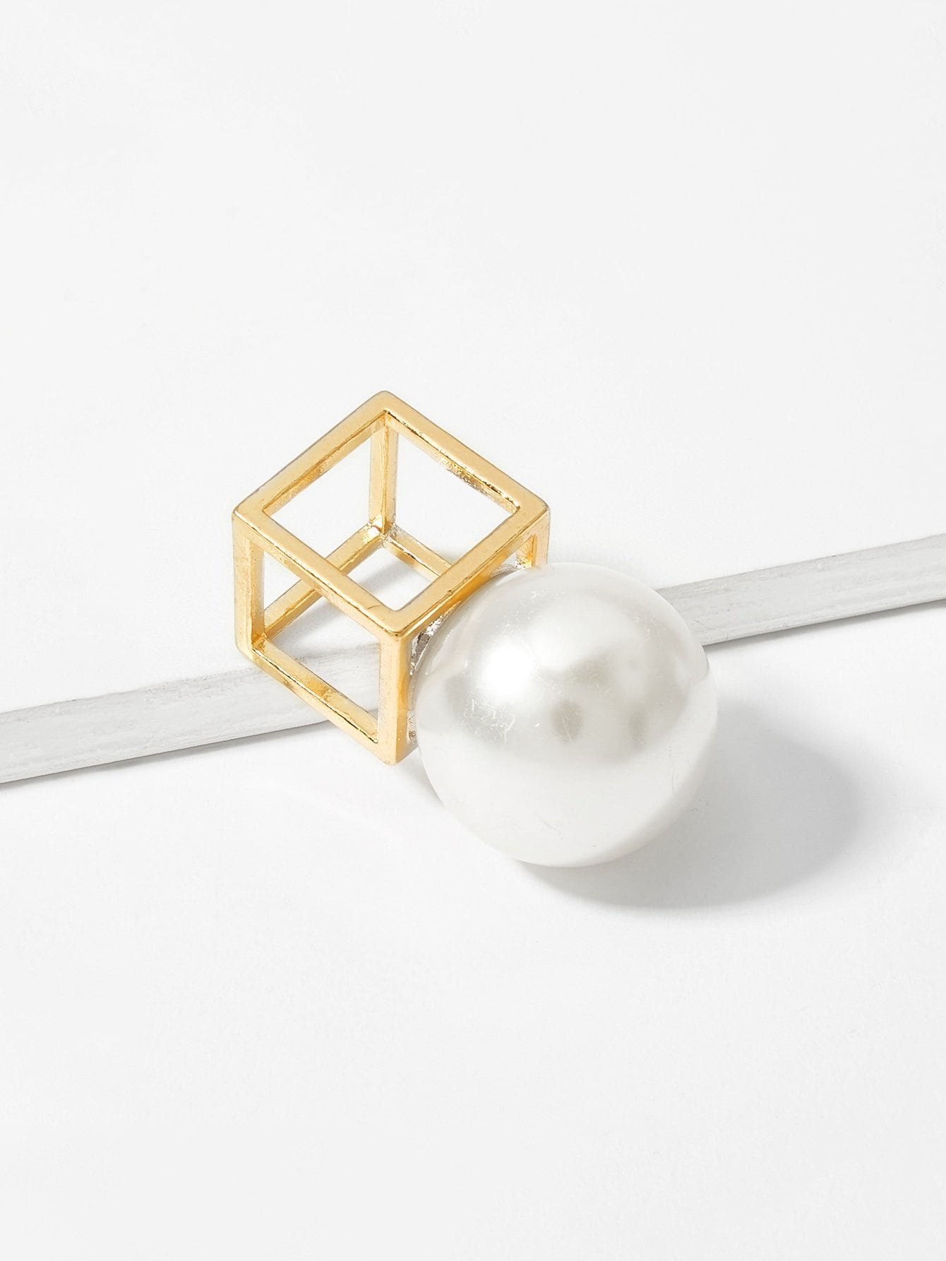 3D Cube Square Hollow Ring