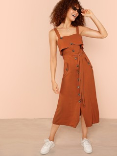 Foldover Front Self Belted Slit Hem Dress