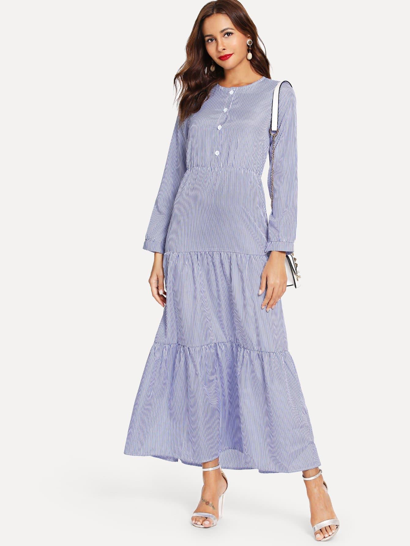 Купить Полосатое платье и с украшением пуговицы перед одежды, Giulia, SheIn