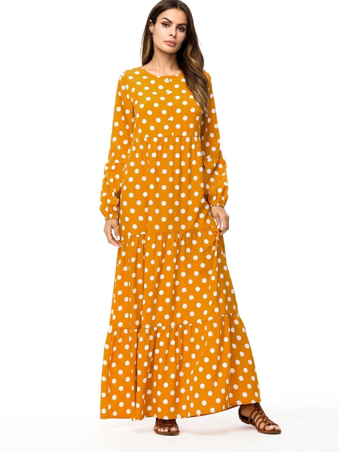 Купить Длинное платье и с рисунками точки польки, null, SheIn