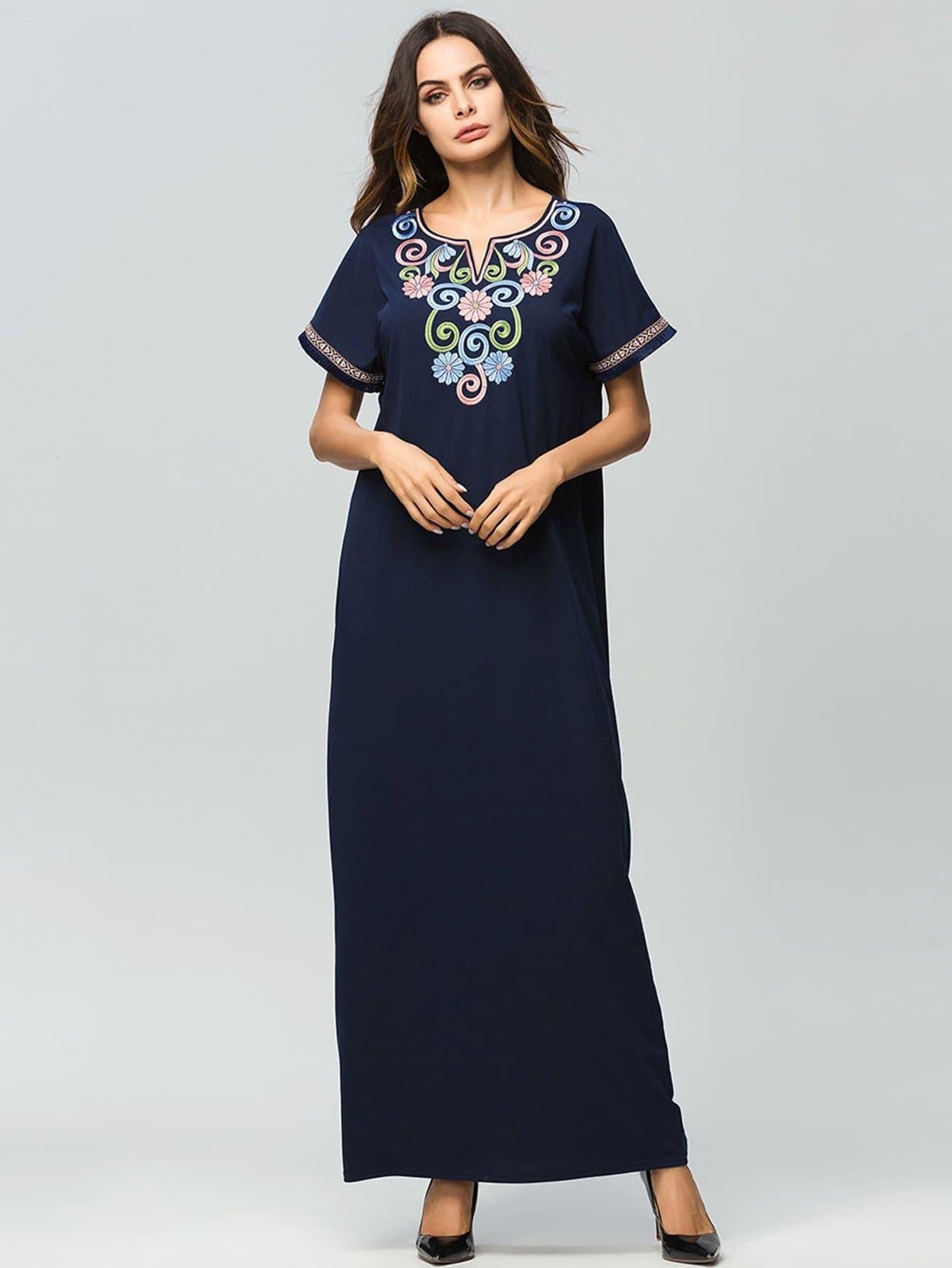 Купить Длинное платье и с рисунками вышивки, null, SheIn