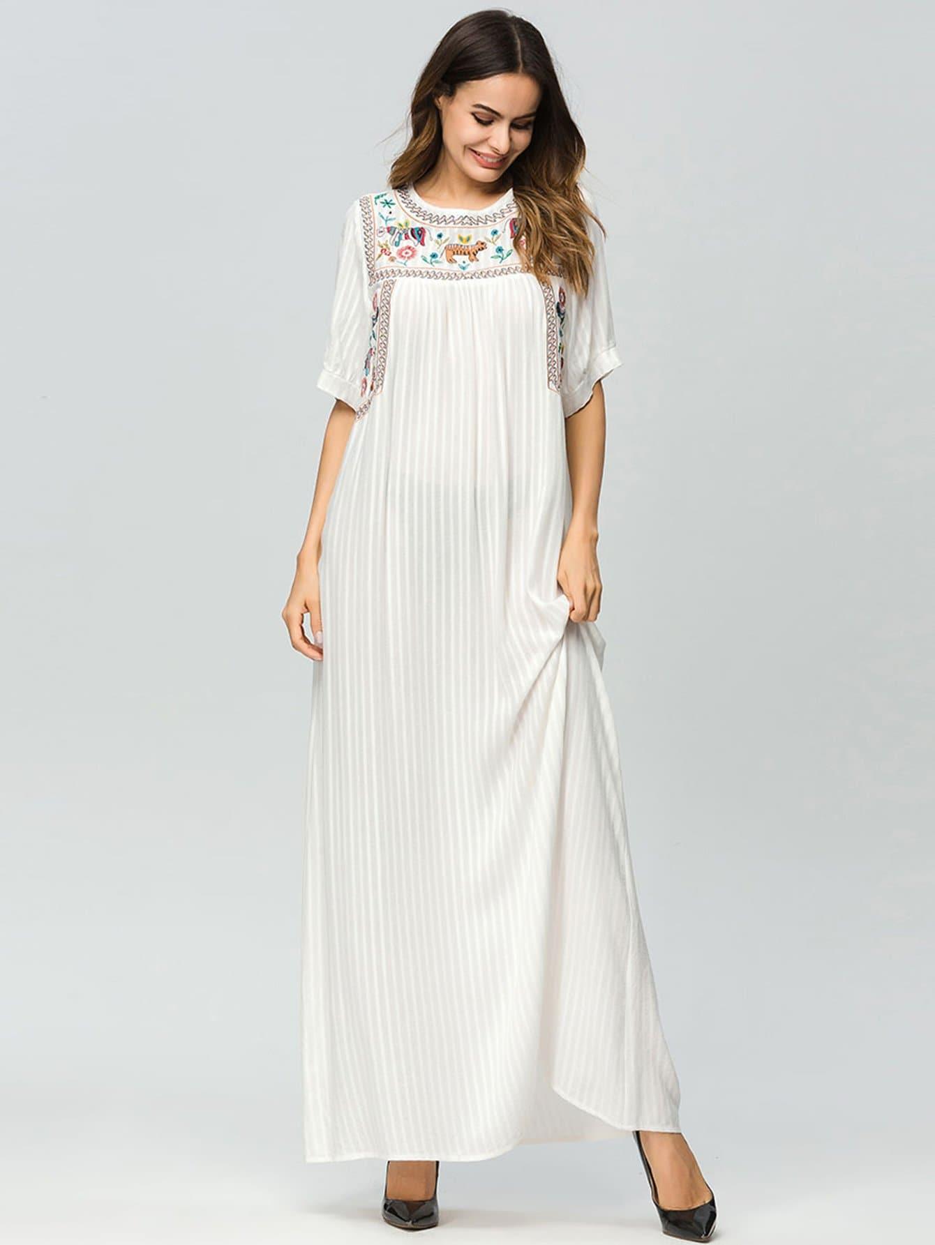 Купить Полосатое длинное платье и с рисунками вышивки, null, SheIn