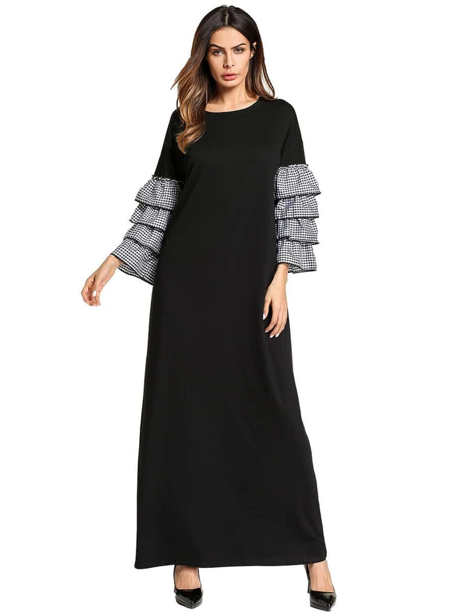 Купить Платье с длинными рукавами и рукава с розеткой, null, SheIn