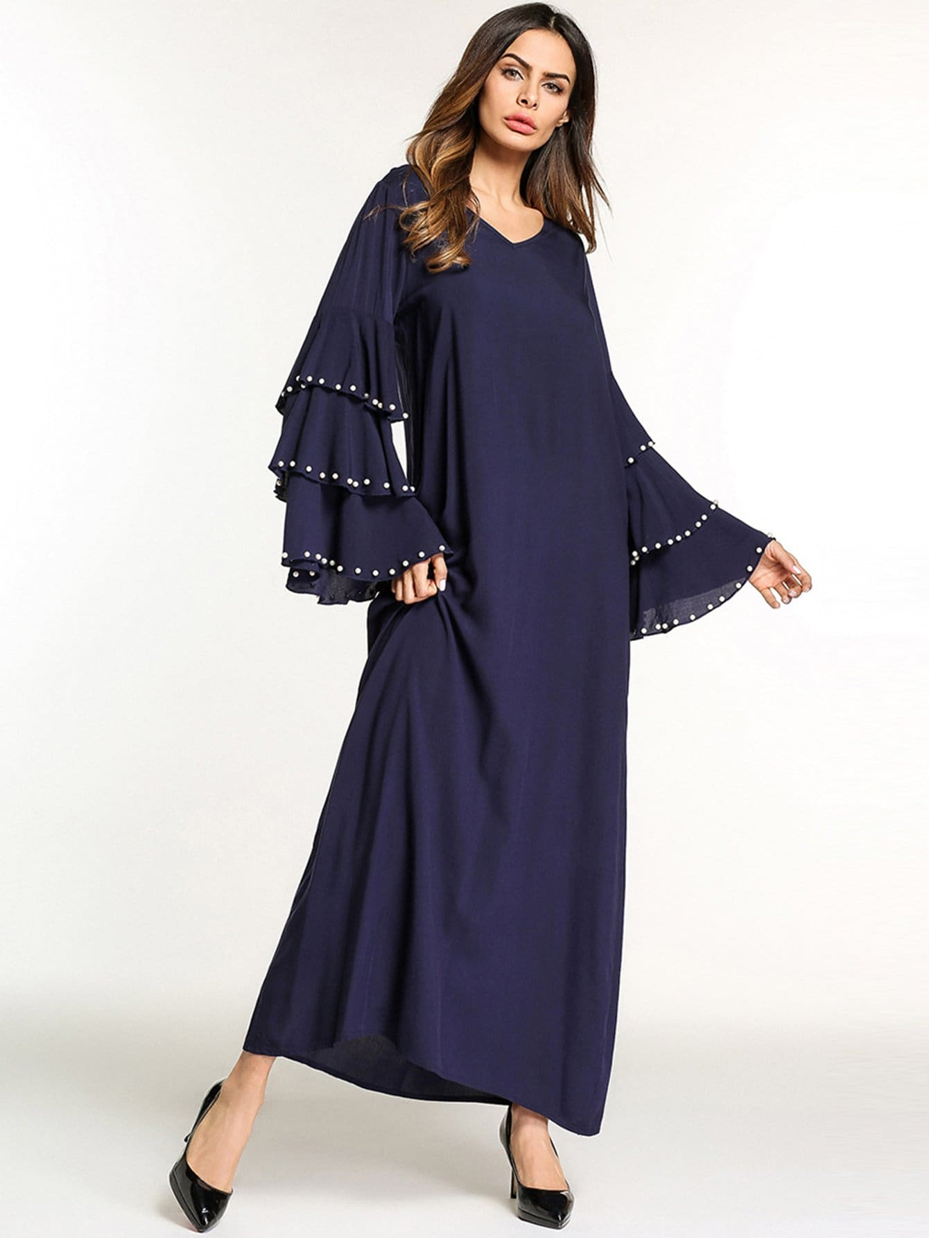 Купить Длинное платье и рукава с розеткой и с украшением нитки жемчуга, null, SheIn
