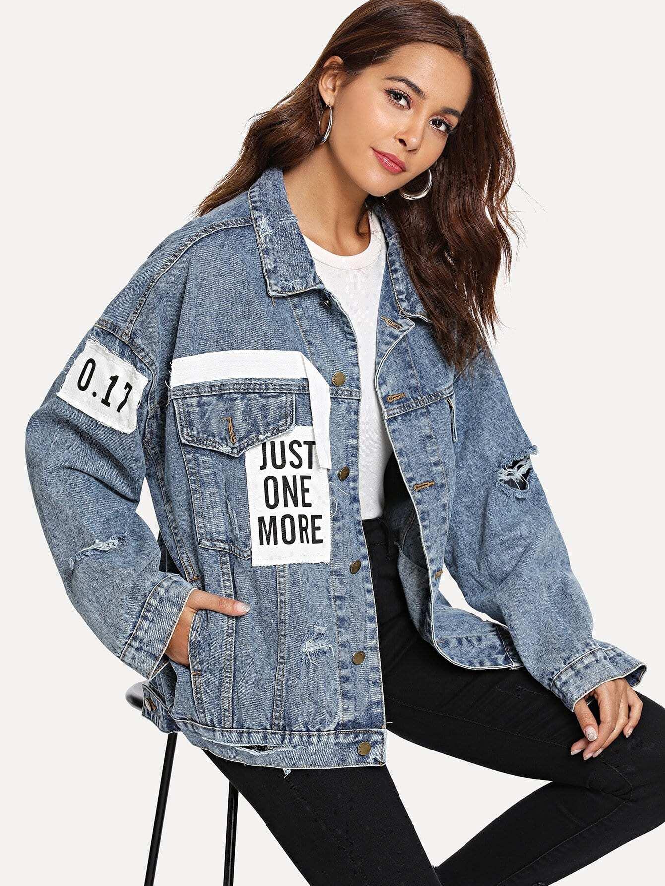 Купить Рваная джинсовая ветровка и с украшением заплаты, Giulia, SheIn