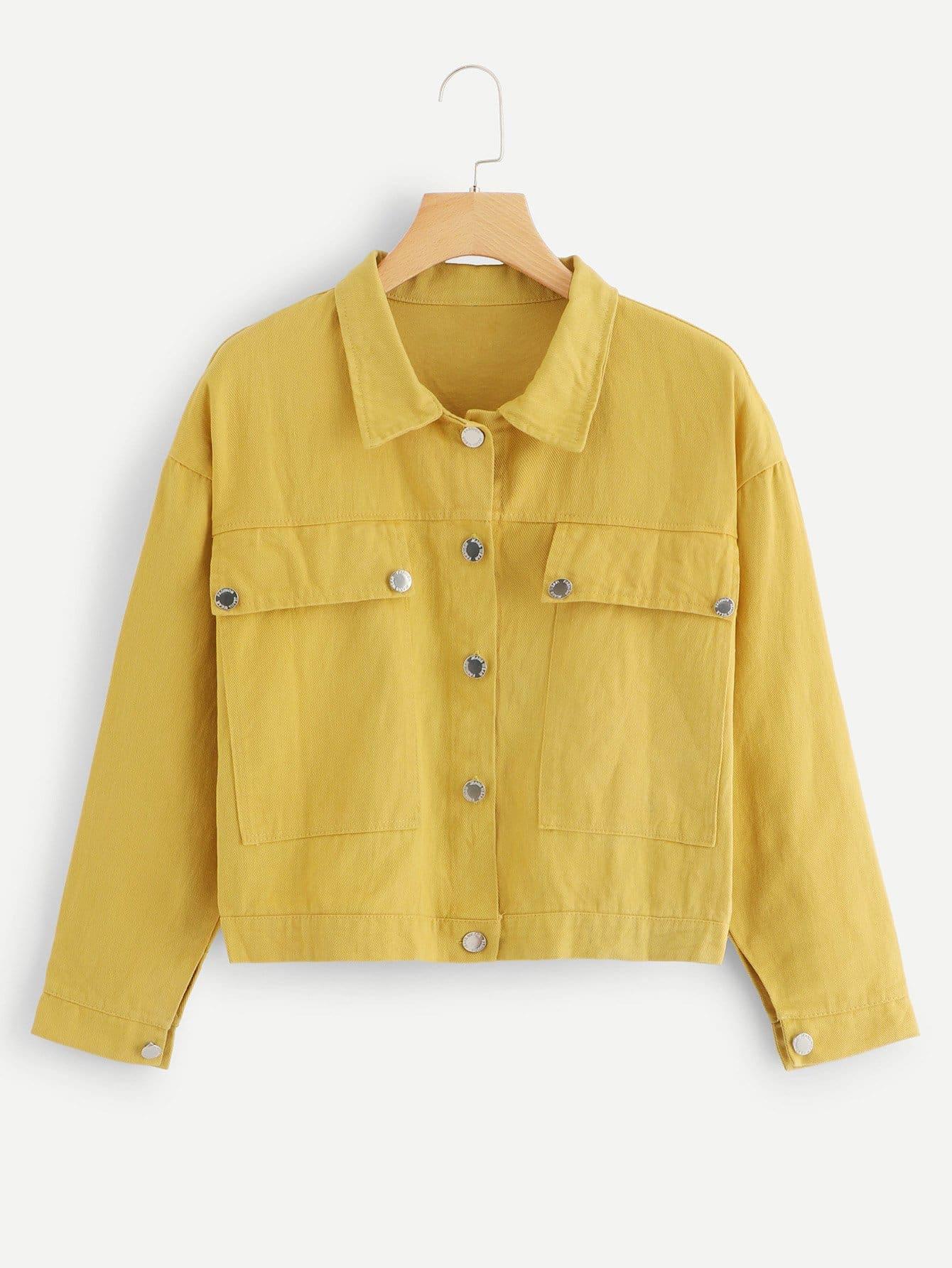 Купить Простая джинсовая ветровка и с украшением пуговицы перед одежды и кармана, null, SheIn