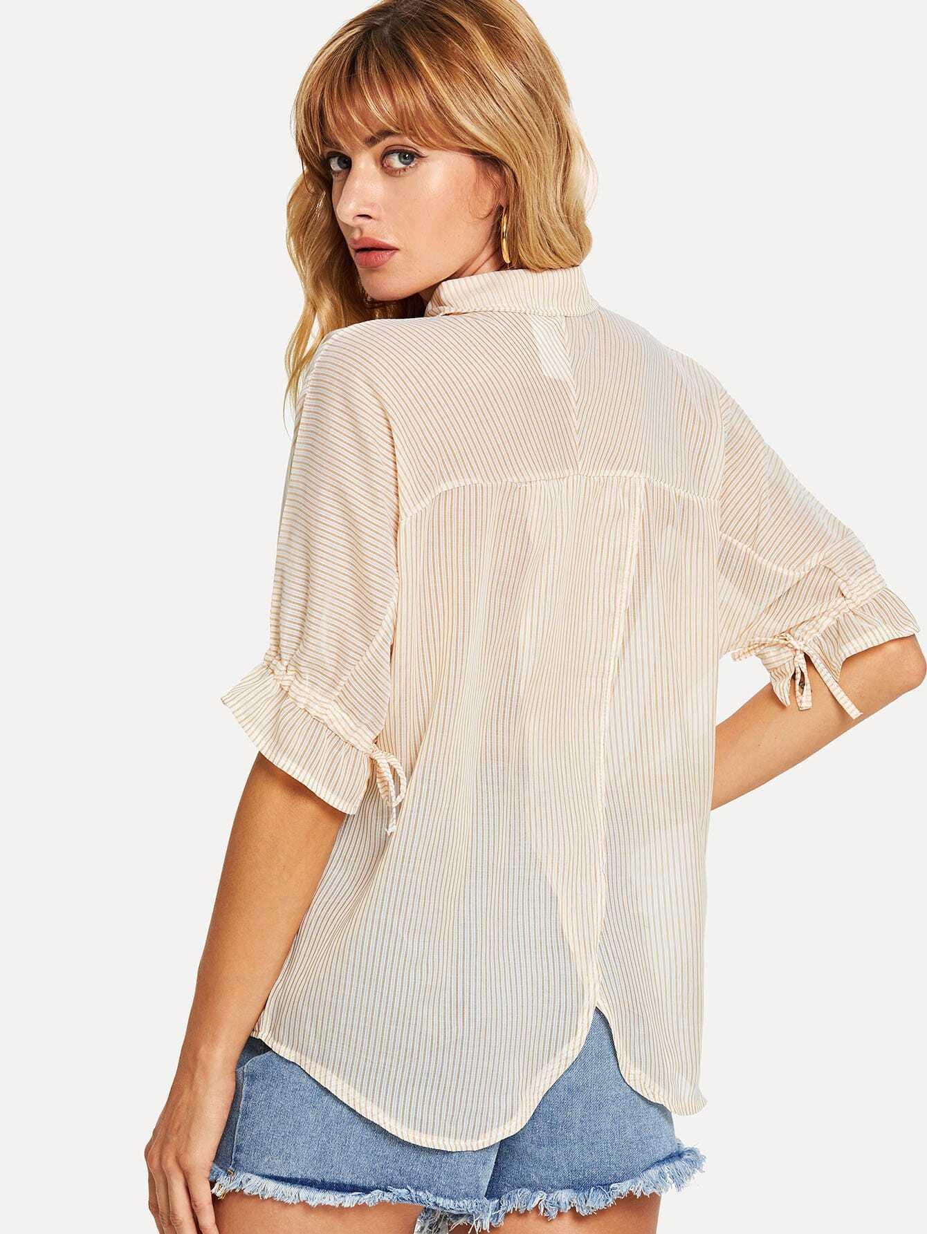 Купить Рубашка и товерстие рукава с розеткой и Dip подол, Masha, SheIn