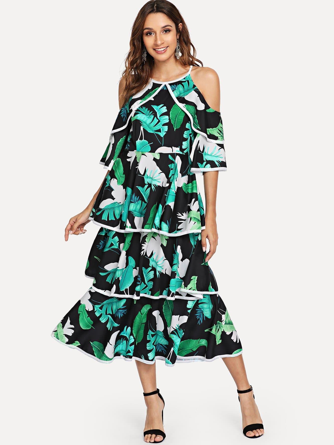 Купить Накрахмаленное платье без бретелек и со симметрическими Binding, Gabi B, SheIn